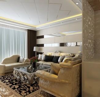 2013欧式客厅玻璃电视墙效果图