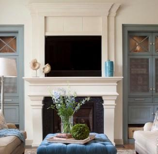 欧式客厅壁炉电视墙效果图