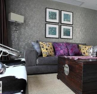 客厅沙发墙面壁纸背景墙设计效果图(6/6)