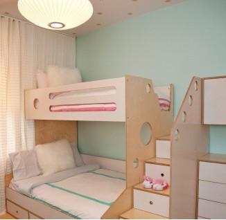 双人儿童房高低床设计图片欣赏(5/5)图片