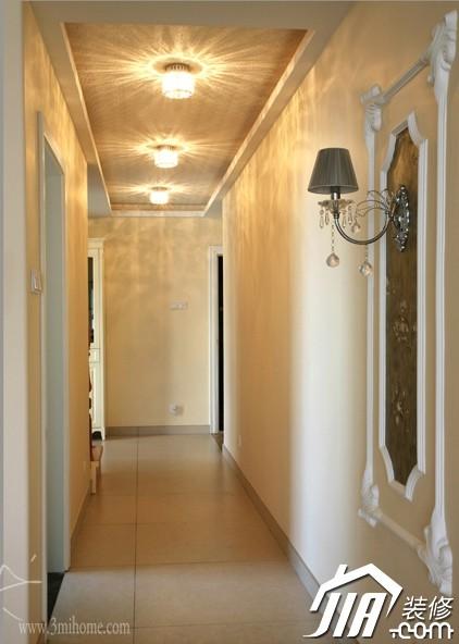 三米设计,公寓装修,120平米装修,富裕型装修,欧式风格,灯具,过道