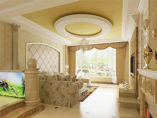 这款吊顶样式搭配欧式风格的家居图片