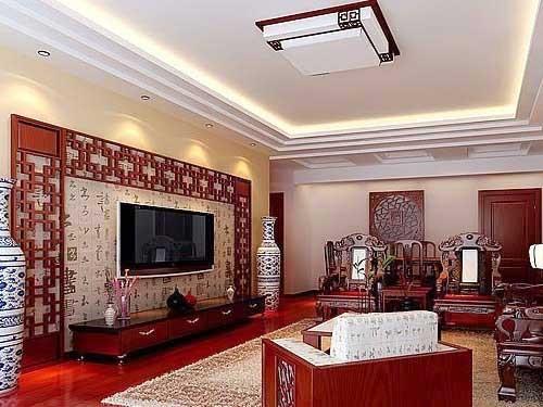 查看原图 中式风格的客厅里红色增添了许多喜庆感,白色简约的吊顶图片