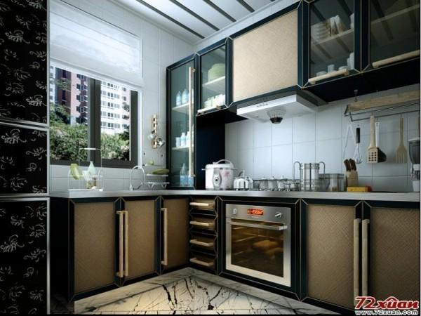 整体厨房的样式全部采用新中式来打造,磨边黑色橱柜配合原木新做把手图片