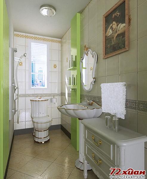 卫生间中的马桶,面盆,浴室柜都采用了白色带有金边的