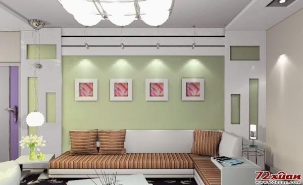 唯美客厅沙发背景墙装修效果图