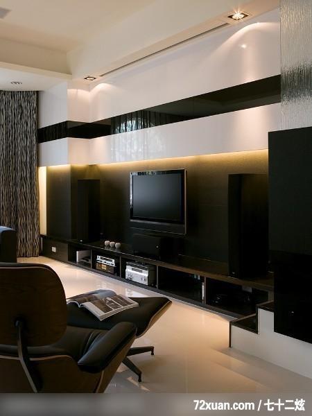 权释_31_台北市,艺堂室内设计,李燕堂,客厅,投影幕布设计,视听收纳柜