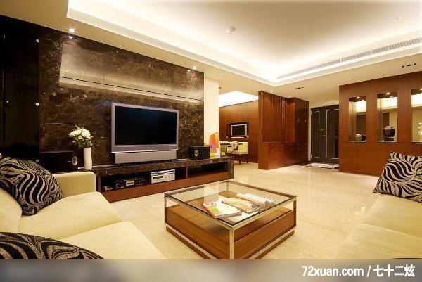 客廳,造型天花板,冷氣擺放設計,造型電視主墻,視聽柜
