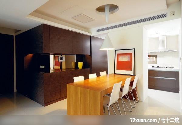 权释设计,洪韡华,餐厅,展示柜,冷气摆放设计,造型天花板,早餐吧台