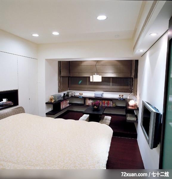 隐藏式柜体设计,东易日盛cbd工作室,刘绍军,卧室,电视墙,观景窗,隐藏