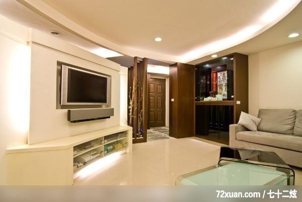 摩登雅舍室内装修,蓝永峻,客厅,佛桌区,造型天花板,造型电视主墙,视听