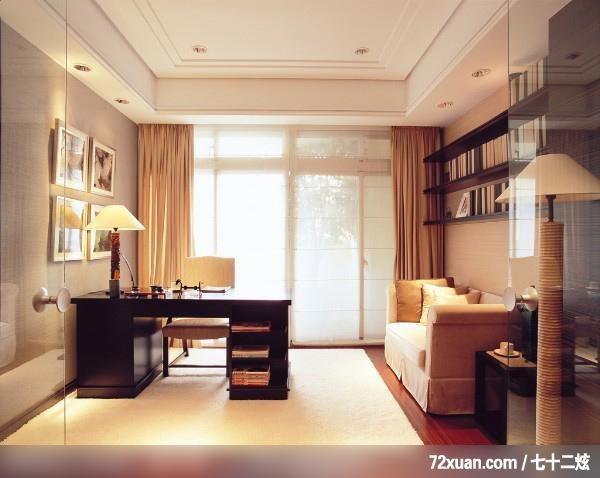 蓝景丽家装饰中心,梅晓野,书房,阅读区,书架层板,造型天花板,落地窗