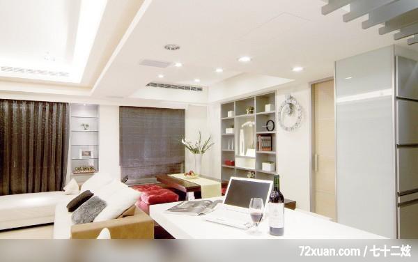 客厅,冰箱收纳柜,冷气摆放设计图片