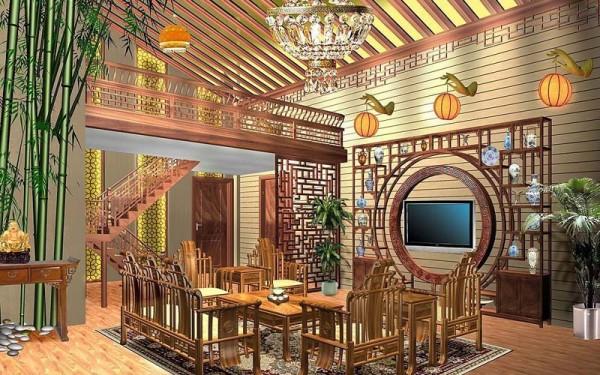 中式客厅装修效果图二装修效果图