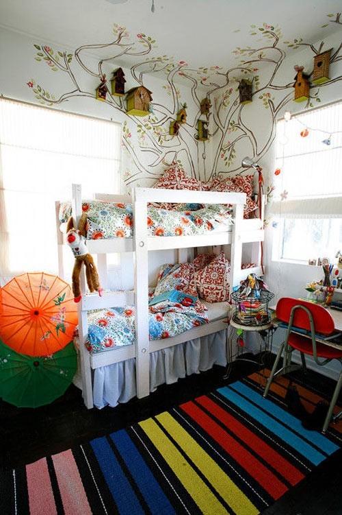 现代色彩手绘儿童房背景墙装修效果图