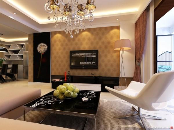 二居室简约时尚的电视背景墙装修效果图装修效果图 高清图片