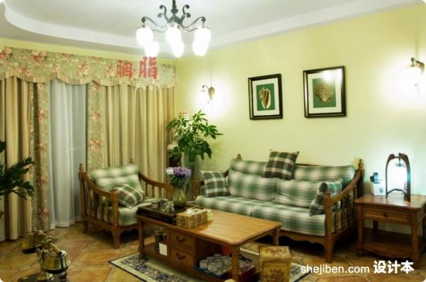 美式乡村风格70平米小户型客厅沙发背景墙装修效果图大全2012图片 (9
