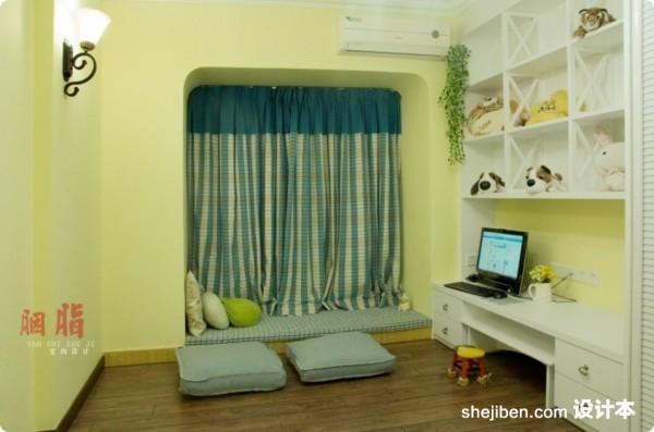 美式乡村风格70平米小户型客厅飘窗装修效果图 (4/9)图片