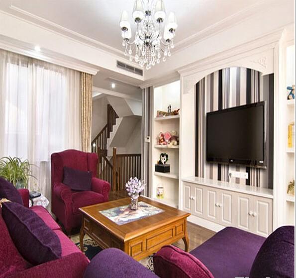 简约家居110平两室两厅装修客厅设计效果图