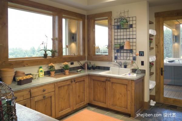 美式风格厨房实木橱柜门效果图 (2/4)