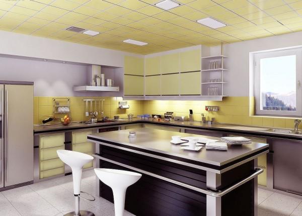 现代简约厨房集成吊顶效果图装修效果图