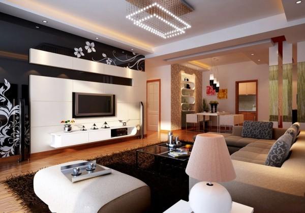 客厅瓷砖电视机背景墙效果图装修效果图图片