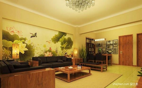 客厅沙发手绘背景墙装修效果图