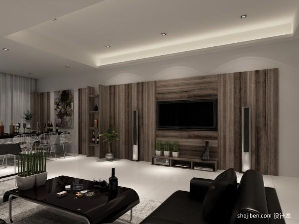 现代咖啡色电视背景墙装修效果图装修效果图
