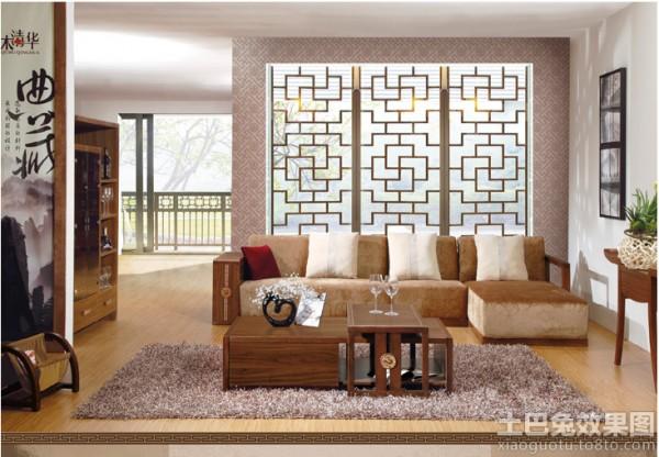 客厅中式实木布艺沙发 (4/5)图片