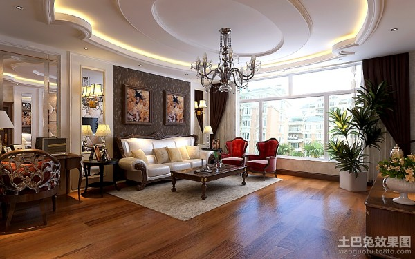 最新欧式风格客厅吊顶装修效果图大全2013图欣赏装