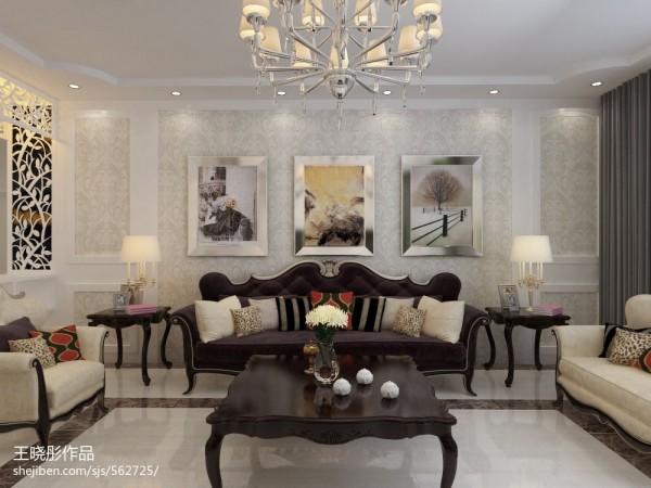 家居图库 欧式新古典风格客厅瓷砖电视背景墙装修.