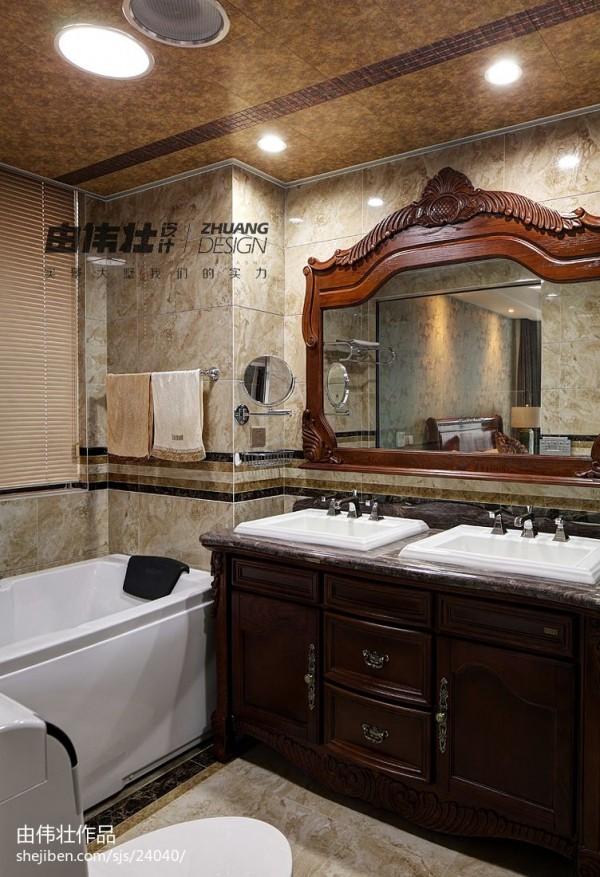 中式 复式楼卫生间 浴室柜子 效果图 装修 效果图 中式 复式楼卫生间 高清图片