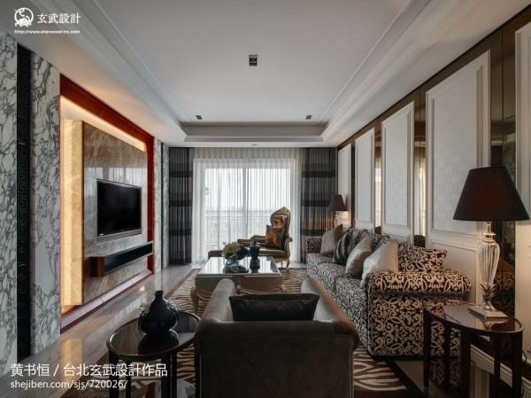 欧式风格客厅大理石瓷砖电视背景墙装修效果图 (1/10)