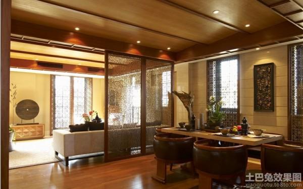 中式风格客厅屏风隔断餐厅装修效果图 (1/2)图片