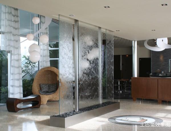 别墅客厅艺术玻璃隔断效果图装修效果图