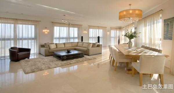 别墅客厅地面瓷砖效果图装修效果图