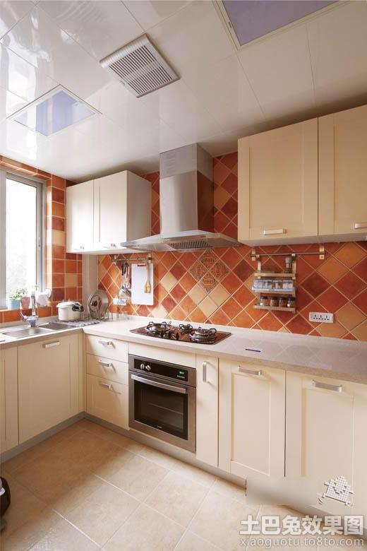 家庭厨房瓷砖效果图装修效果图