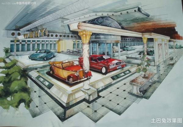 汽车展厅手绘效果图装修效果图