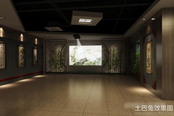 中式书画展厅设计效果图装修效果图图片