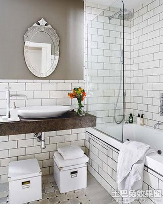 家庭浴室白色瓷砖贴图装修效果图
