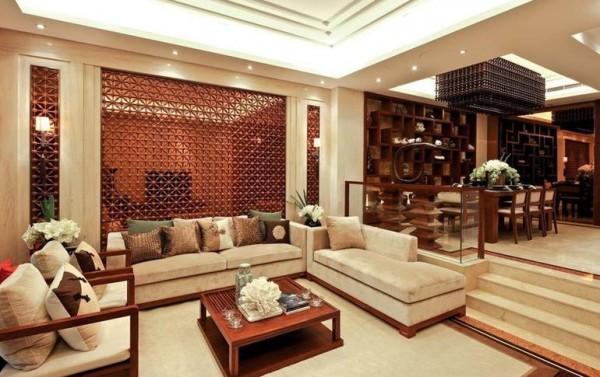 新中式风格别墅室内客厅装修设计装修效果图