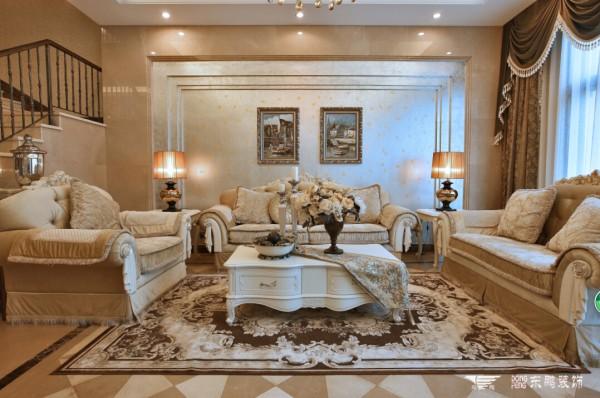 欧式豪华别墅客厅装修设计装修效果图