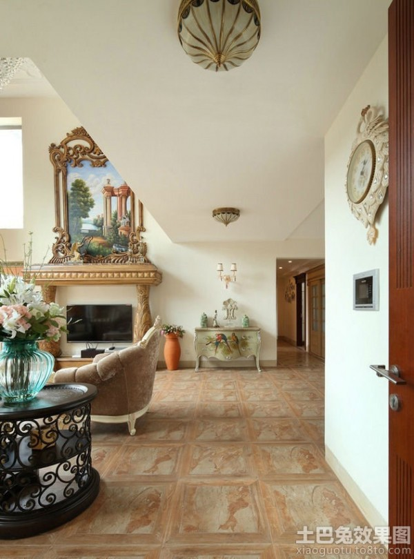 别墅地板砖效果图大全别墅装修客厅地板砖图图片9