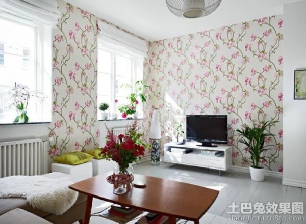 室内客厅壁纸电视墙效果图装修效果图
