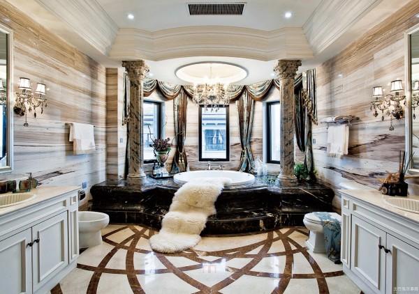 现代豪华别墅卫生间浴池装修效果图装修效果图