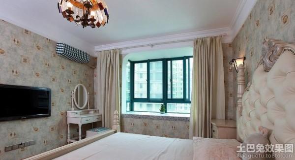 美式卧室纯色窗帘效果图片装修效果图