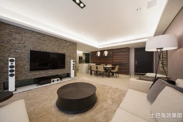 现代简约风格两室一厅家庭客厅电视背景墙图片装修图