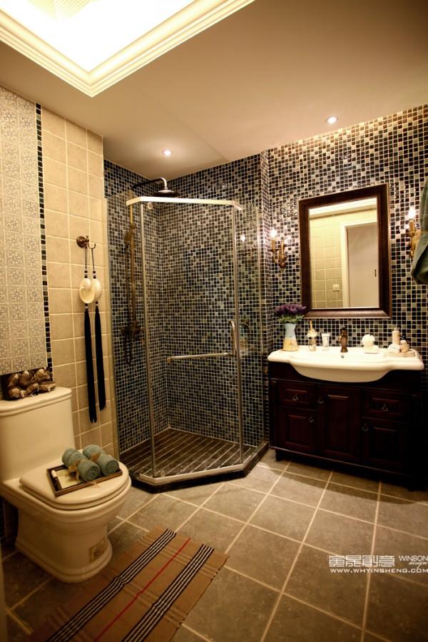 卫生间马赛克背景墙效果图欣赏大全装修效果图-马赛克背景墙卫生间