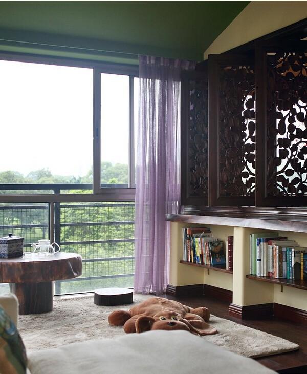 东南亚风格阳台紫色窗帘效果图装修效果图_第7张
