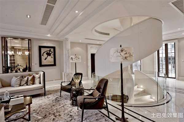 现代欧式别墅室内旋转楼梯装修效果图装修效果图图片